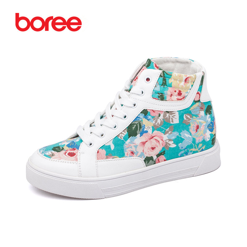 Boree Winter Women s Casual Shoes Fashion Sneakers Height Increase High-Top 3D Print Canvas White Shoes Zapatillas Mujer 80810