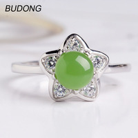 BUDONG Natural Nephrite Jasper Adjustable Engagement Ring Fine Jewelry Pentagram Star Genuine 925 Sterling Silver Ring