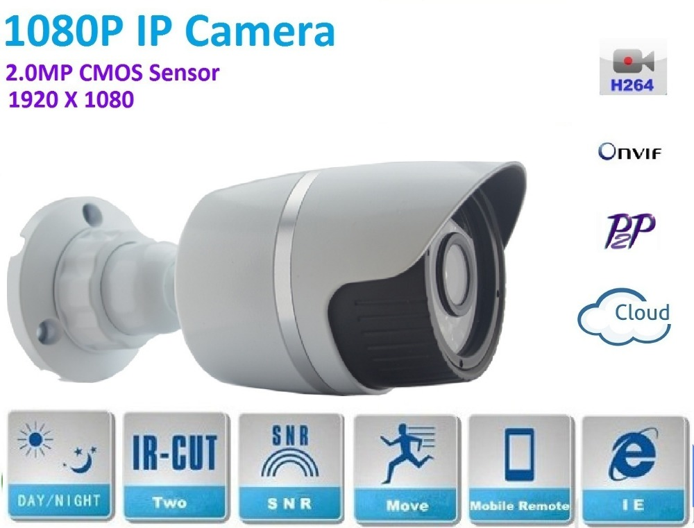 1920*1080P POE IP Camera ONVIF H.264 P2P Waterproof Outdoor IR CUT Night Vision support POE Switch 48V or DC 12V Power supply