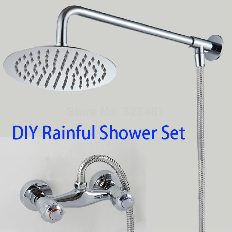 Bathroom Rainfall Shower mixer set Complete including 8 Shower Head Stainless Steel Hot Cold Water Brass Shower Faucet with arm