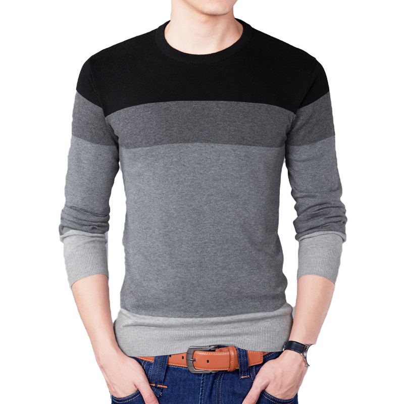 Pullovers Men Knitwear Slim-Fit O-Neck Homme Autumn Striped Fashion-Brand Casual Contrast-Color