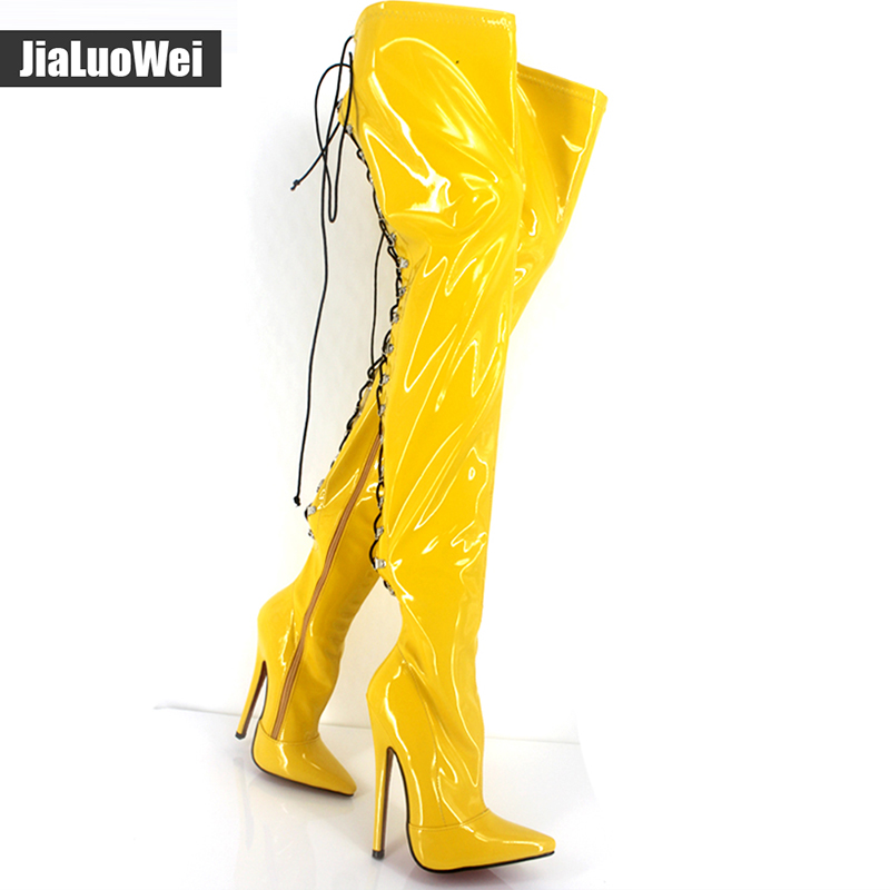 Jialuowei New women 18cm high heels over knee Thigh Long Boots fashion patent leather Zip Back Lace-up sexy Fetish boots jialuowei women sexy fashion shoes lace up knee high thin high heel platform thigh high boots pointed stiletto zip leather boots