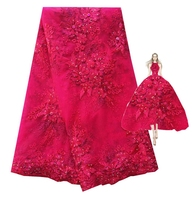 Guipure Mesh Lace Fabric Fushia Pink Gold Metallic Embroidered Nigerian Polyester Cream Gold Red African Laces