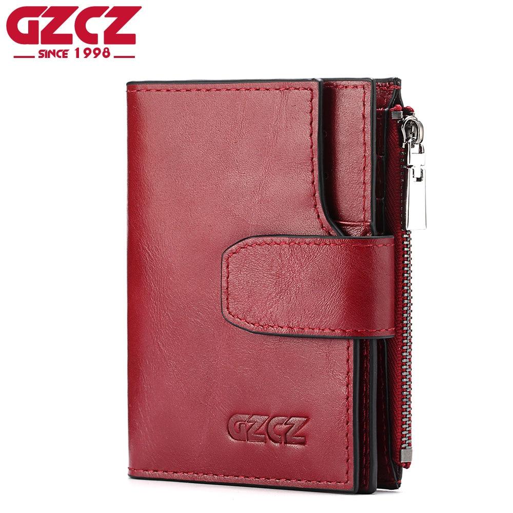 GZCZ Women Wallet Female Genuine Leather Woman Walet Luxury Brand Mini Vallet Card Holder With Zipper Design Business Portomonee