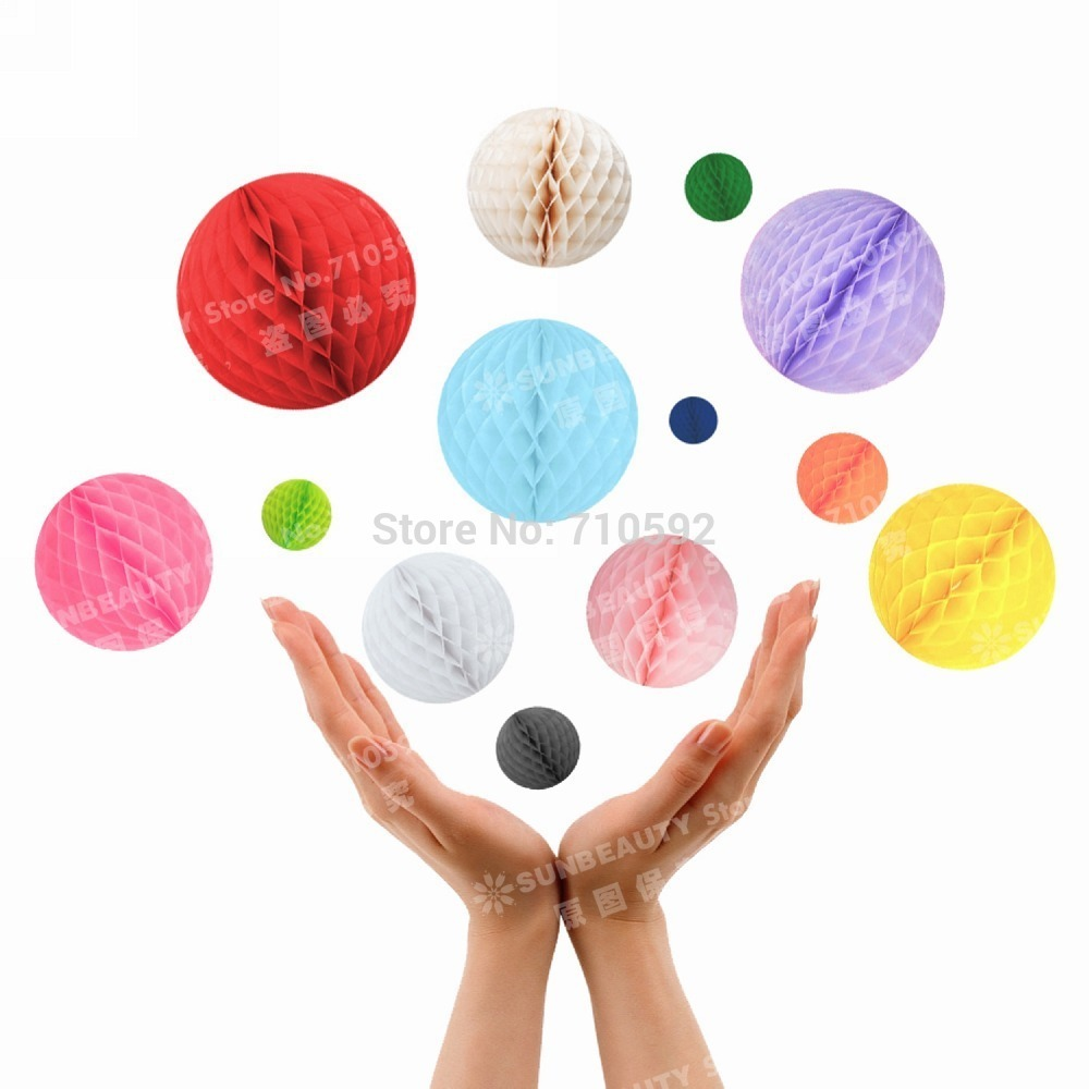 60 Paper Honeycomb Balls ( 5cm+8cm) Mixed Sizes Colorful