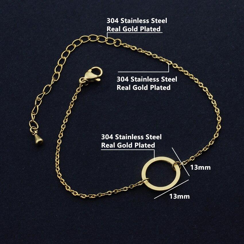 V locka vintage öppen cirkel rose guld charm armband för kvinnor - Märkessmycken - Foto 2