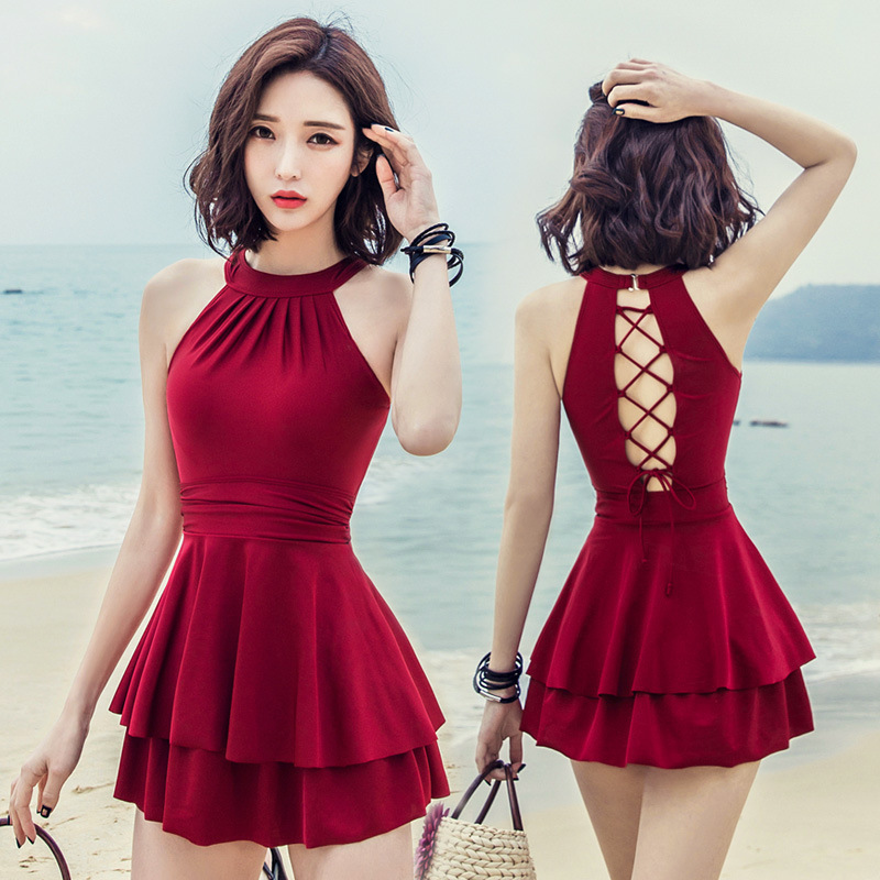 Women Push Up Swimsuit 2019 New Layers Ruffles Padded Skirt Bathing Suit One Piece Swimsuit Hollow Ladies Swimwear Bandage M-2XL 5