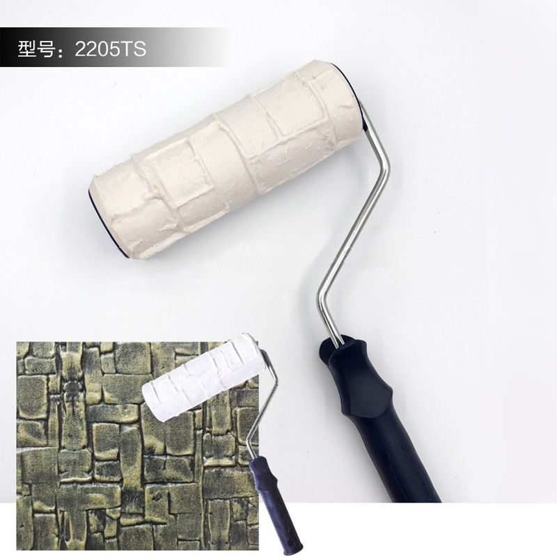 8 Inch Pattern Paint Roller Draw Rubber DIY Construction Tool Portable Embossing Cylinder Stamp Decorative Brush Imitate Stone