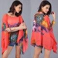 6 colores Moda mujeres batwing blusa de la gasa mujeres de la impresión floral casual blusa suelta señora atractiva playa de la gasa tops