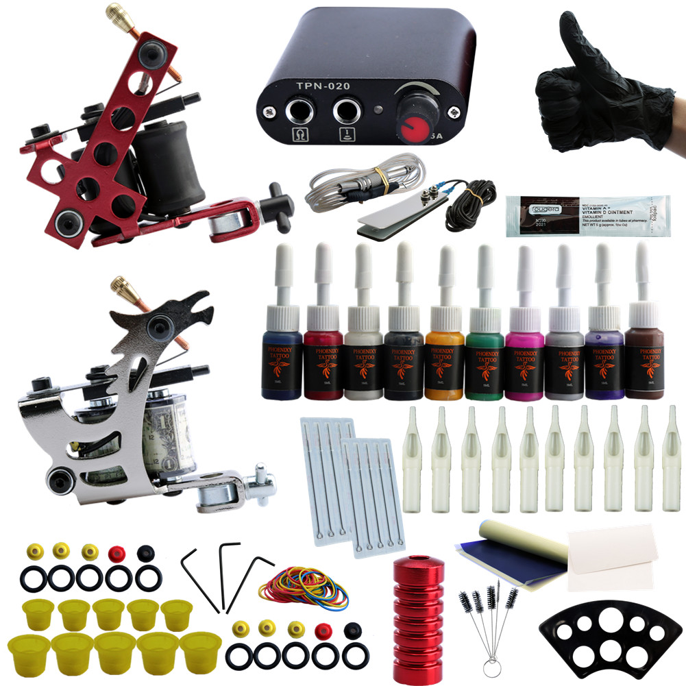 Completed Tattoo Kit 2 Tattoo Machines Set 10 Colors Ink Power Supplies Box Grips Body Art Supplies Needles Tips Tattoo Beginner usa dispatch complete beginner tattoo kit 3 machines guns lcd power needles tips grips set equipment supplies