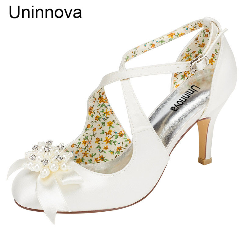 a1fb0ca7ad Bride Bridesmaids Wedding Super High Heels Ivory White Crystal Beading  Flower Round Toe Court Shoes for Wedding Party LY183-37A