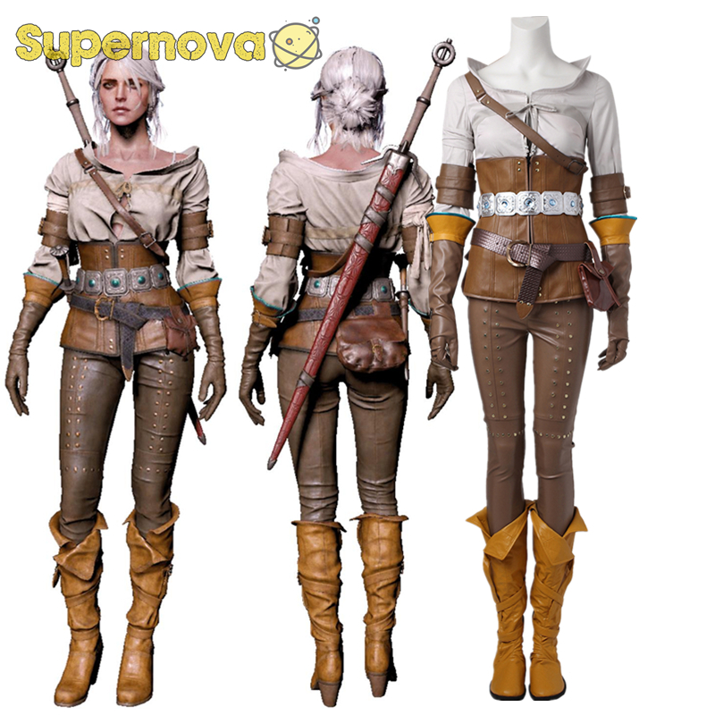 The Witcher 3 Wild Hunt Cosplay Cirilla Costume Game Outfit Suit Halloween Set