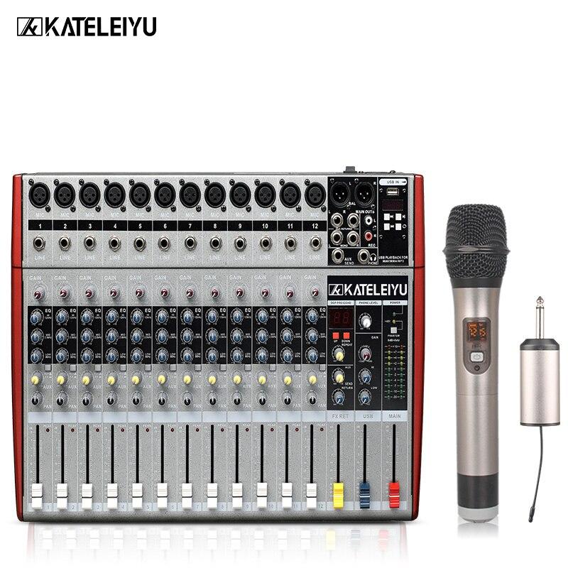 DJ Mixer W6000T12 Professional Mixer Audio Amplifier Sound Processor 12 Channels (16 Effects + USB Playback)