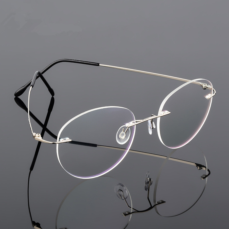 Retro Round Foldable Ultra-light Memory Titanium Alloy Myopia Eyeglasses Rimless Elasticity Optical Glasses Frame Men Eyewear