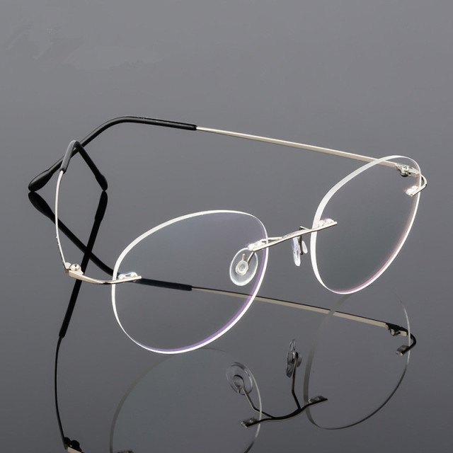 5fc1d902856 Retro Round Foldable Ultra-light Memory Titanium Alloy Myopia Eyeglasses  Rimless Elasticity Optical Glasses Frame Men Eyewear