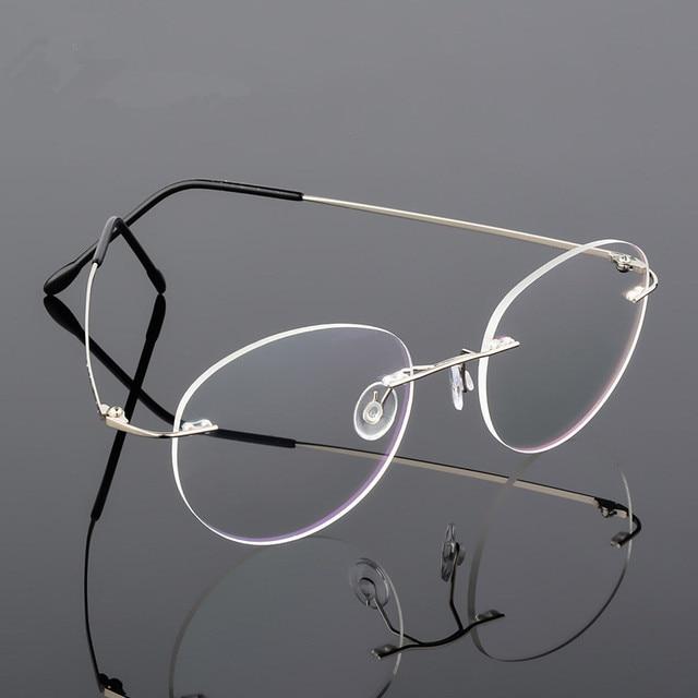 c1cb839fa9 Retro Round Foldable Ultra-light Memory Titanium Alloy Myopia Eyeglasses  Rimless Elasticity Optical Glasses Frame Men Eyewear