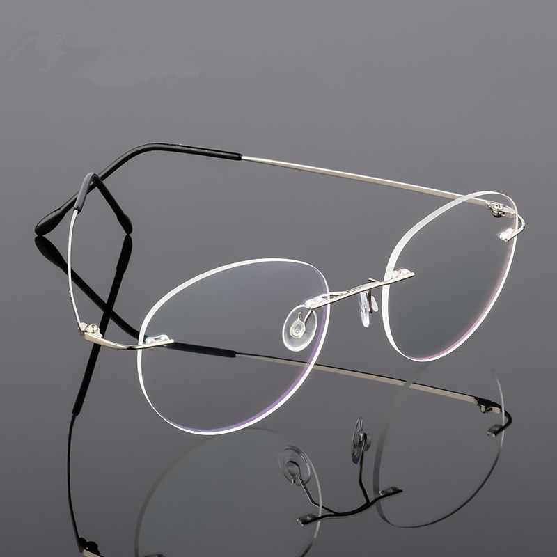 d44ac5dc04a3 Retro Round Foldable Ultra-light Memory Titanium Alloy Myopia Eyeglasses  Rimless Elasticity Optical Glasses Frame