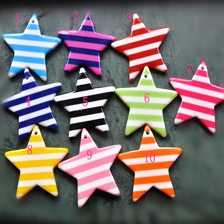 Resin With Hole Crafts For DIY Decoration10pcs Mixed 33mm Popular And Cute Flat Back Resin Stripe Star Pendant