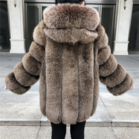 Winter Real Fox Fur Coat Women Hooded Fur Coat Warm 2018 New Brand Women's Genuine Fur Jacket Natural Fox Fur Coat with Hood