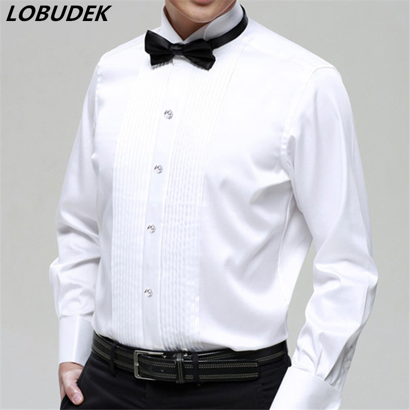 party wedding groom Boys long-sleeve 2015 white male costume shirt collar shirt male clo ...