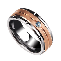 Mens 8mm Rose Gold Plating Brushed Finished with White CZ Stone 1