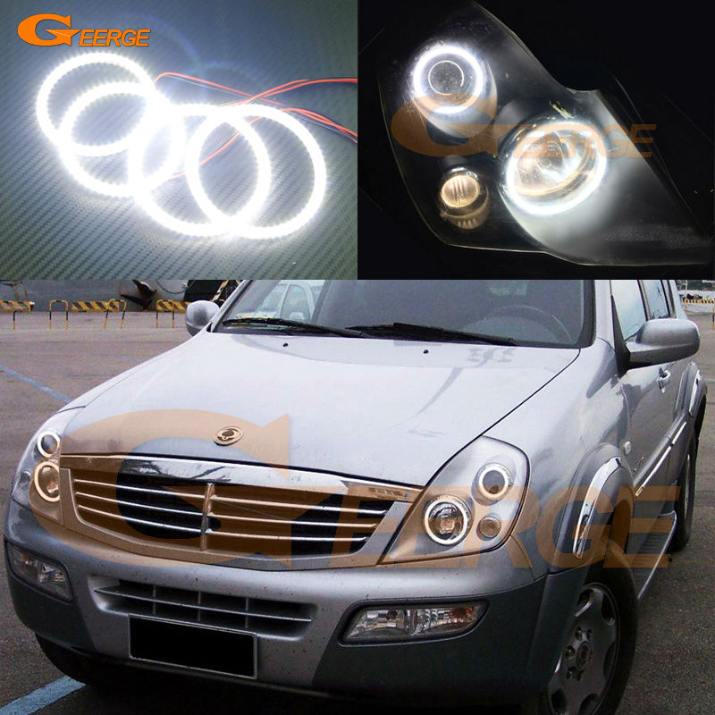 For Ssangyong Rexton 2003 2004 2005 Excellent led Angel Eyes Ultra bright illumination smd led Angel Eyes Halo Ring kit ssangyong rexton с пробегом