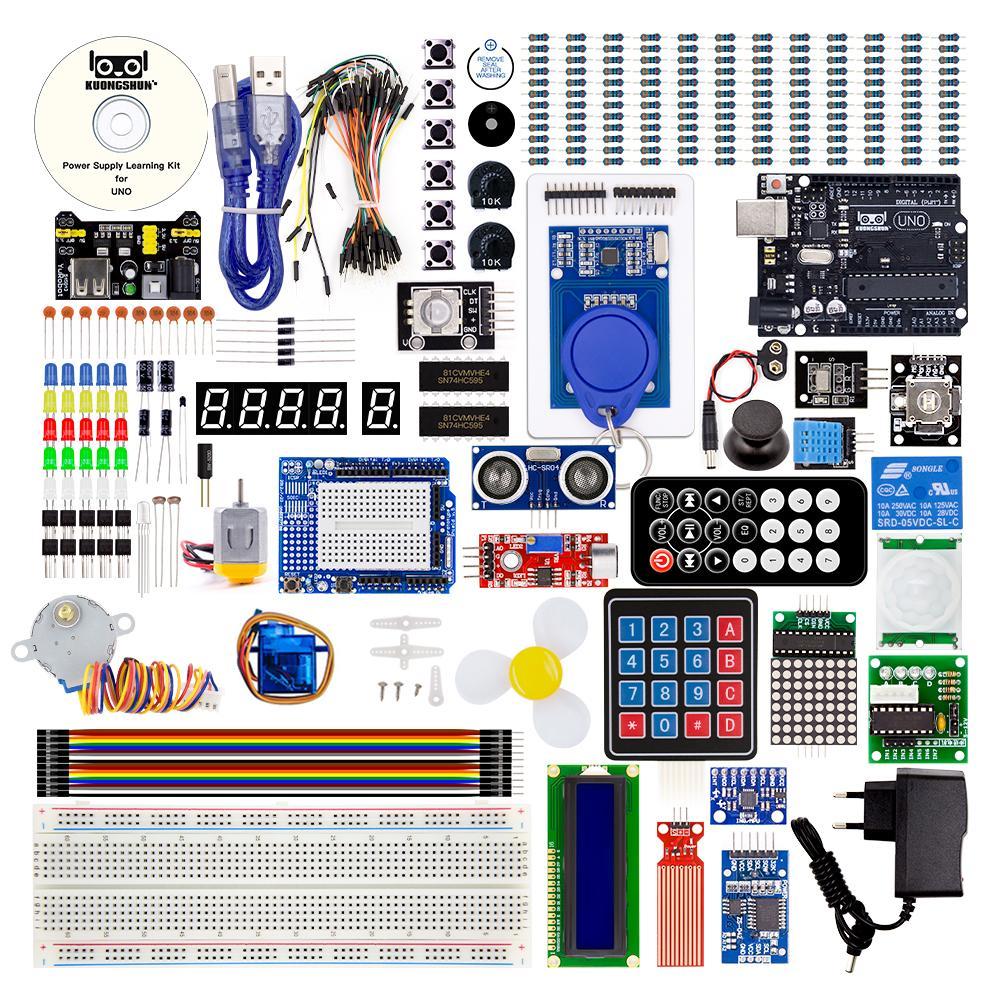 Kuongshun mais completo uno r3 starter kit com componentes e sensores de alta qualidade