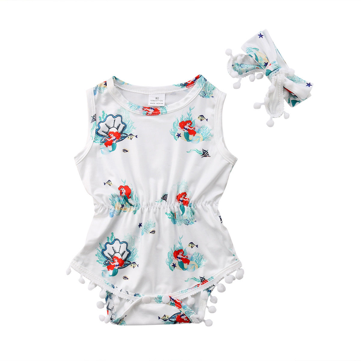 Mermaid Mom Baby Boys Girls Jumpsuit Overall Romper Bodysuit Summer Clothes Black 2