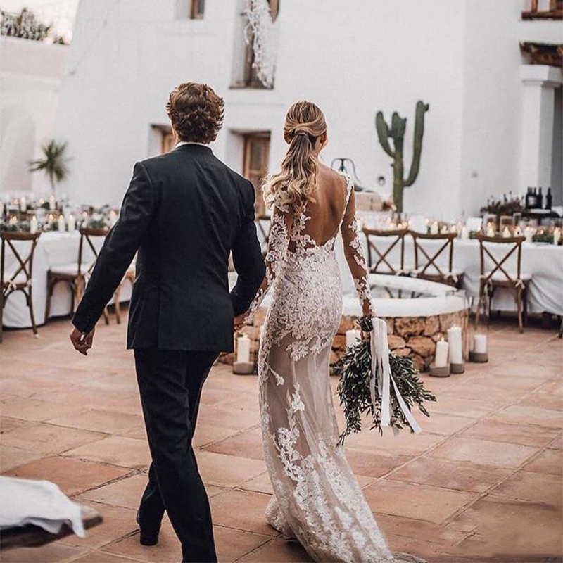 2019 Vestido de Noiva Sereia See Through 2019 Vestidos de novia Lace Querida Neck vestido de Noiva Mangas Compridas Vestidos de Casamento - 3