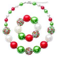 Kids Princess Holiday Christmas Cute Necklace bracelet set children fashion handmade acrylic Chunky Bubblegom jewelry NL026