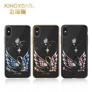 Image 2 - Alta qualidade shinning strass cristais caso para o iphone x original kingxbar caso do telefone para o iphone x luxo diamante capa traseira