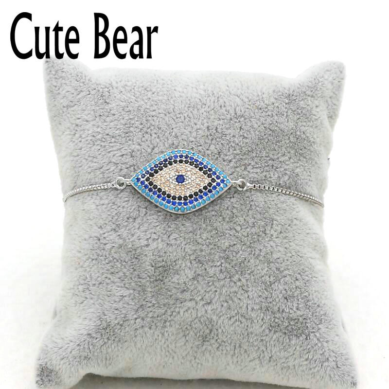 Cute Bear Brand Micro Pave CZ Zircon Blue Eye Bracelets Ajustable Metal Box Chain Bracelet Fashion Bracelets For Women Jewelry