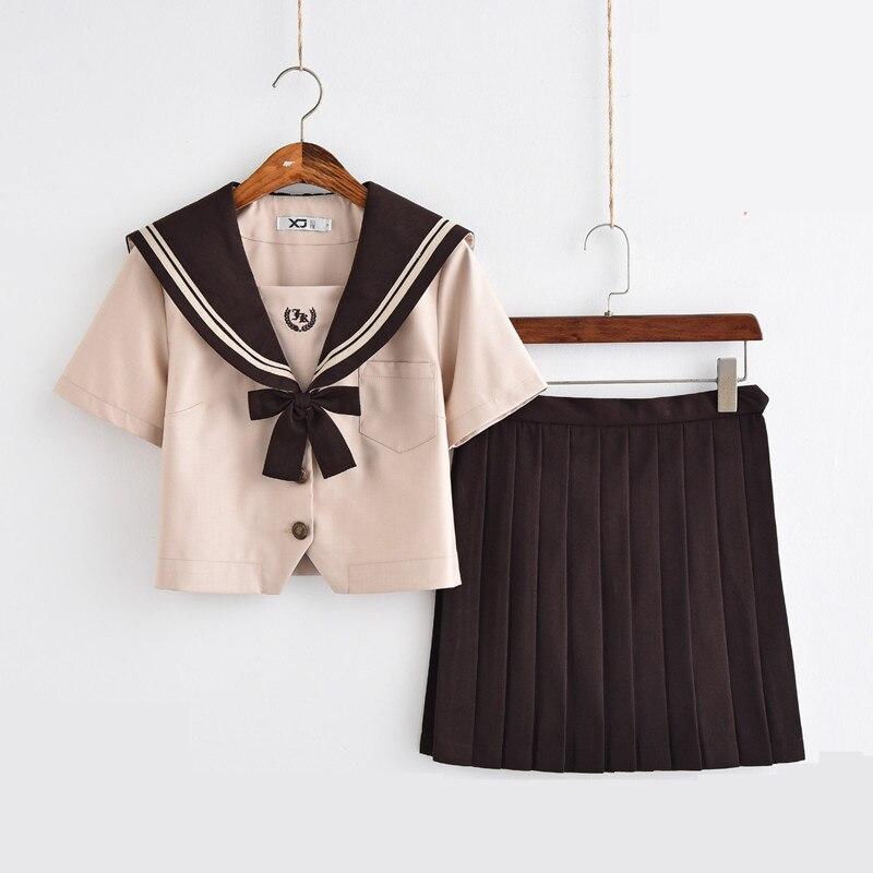 Nouveau japonais/coréen mignon filles marinière costume étudiant école uniformes vêtements tenues courtes/longues manches chemises + jupe ensembles