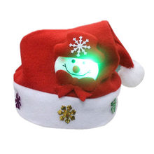 92fea6e50cb64 1pcs Kid Cheer Christmas Hat Glowing Santa Claus Reindeer Snowman Xmas Cap  Holiday Party Decor For Adult Children New Year Gift