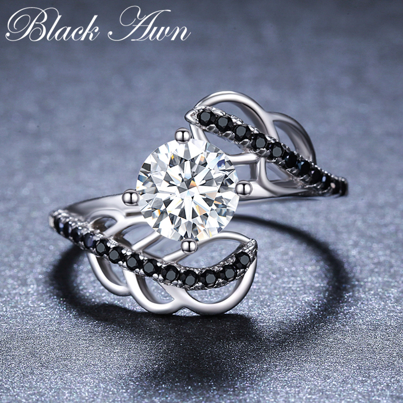 2019 New Fashion 925 Sterling Silver Fine Jewelry Engagement Black Spinel Round Engagement  Ring For Women Anillos Mujer G094