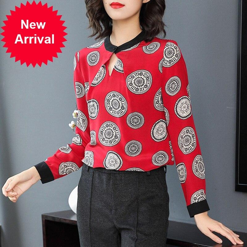 Наивысшее качество оригинальный дизайн 2018 весна новый номер печатных красный натуральный шелк рубашка P7911 Camisa Feminina Женские топы и блузки