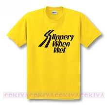 170204a3016 Free Shipping Bon jovi slippery when wet short-sleeve T-shirt 8 colors 100