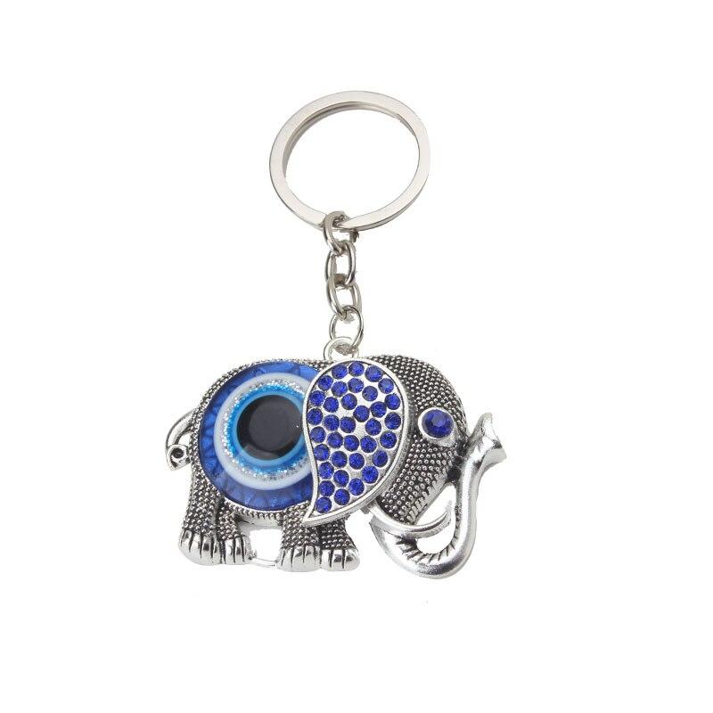 купить EVIL EYE new fashion elephant blue charm key chains lucky amulet evil eye for woman man car pendant jewelry Keychain по цене 76.84 рублей