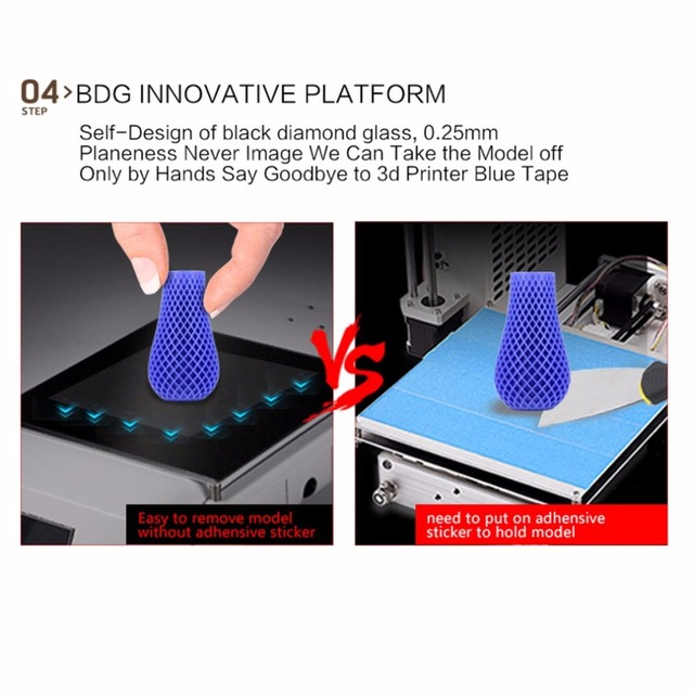 Portable 3D Printer Full Metal Frame High Precision Large Printing Size USB Printing Machine LCD Touch Screen Display 3