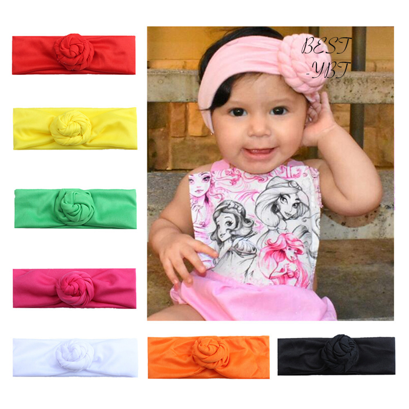 Lovely Girl Children Hair Wear for Kids Head Band Flower Headband Cloth Floral Elastic HairbandHair Accessories headband baby girl hair bows newborn elastic hair band kids cute children hair accessories ribbon head band with dot 2pcs set