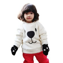 2017 New Children Baby Clothing Boys Girls Lovely Bear Furry White Coat Thick Sweater Coat Fashion Style
