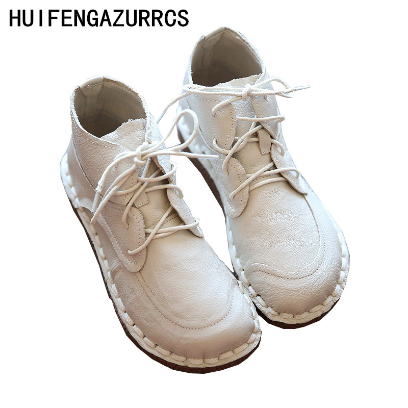 HUIFENGAZURRCS Female art retro real leather Round Flat Boots pure handmade shoes comfortable soft bottom all