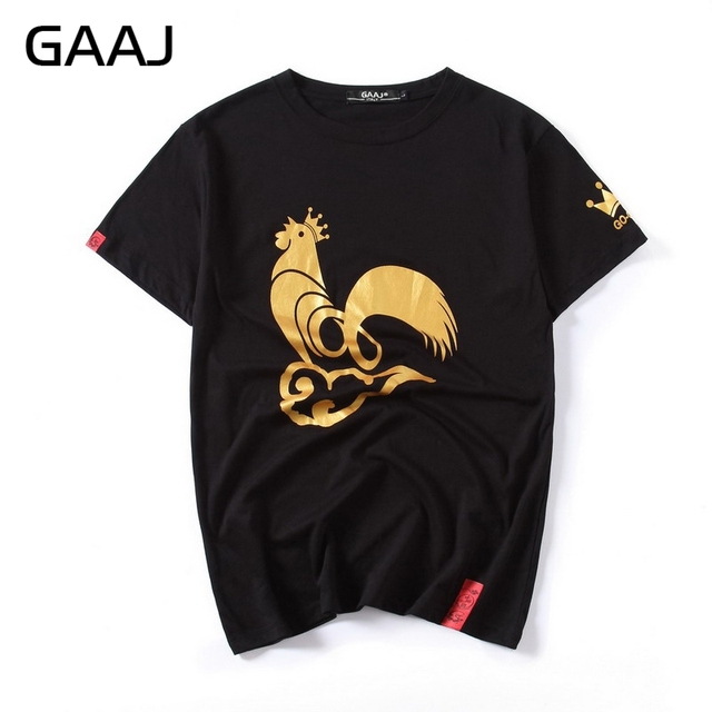 Us 19 64 Gaaj Chinese Japanese Style Men T Shirts Cotton Gold Foil Printed Chicken T Shirts For Man 3xl Fashion Male Mens O Neck Tshirt In T Shirts