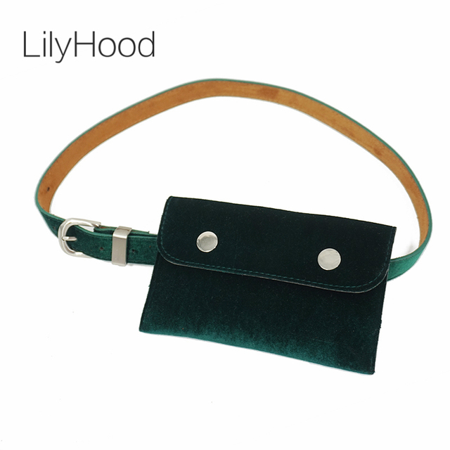 8379077c7ba8 LilyHood Women Velvet Small Waist Pack Lady Velour Trendy Fashion Vintage  Retro Chic Feminine Fanny Hip Belt Bum Green Waist Bag-in Waist Packs from  ...