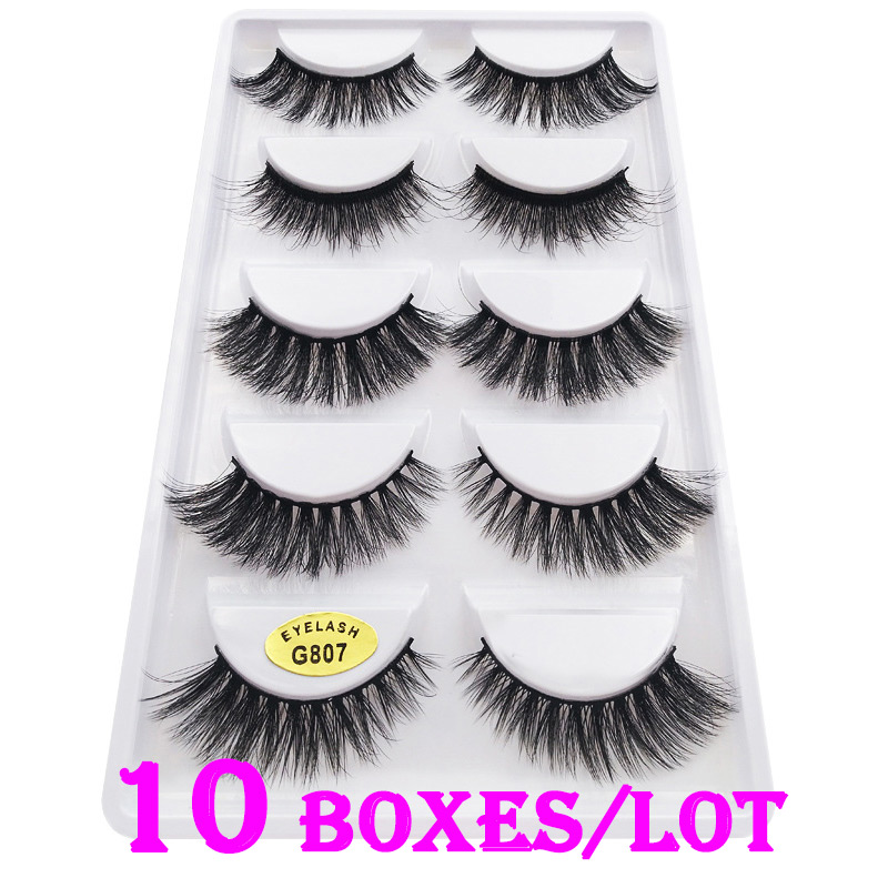 50 Pairs/Set Classic Luxurious 3D False Eyelashes Messy 100% Real Siberian Mink Eye Lashes For Professional Make Up