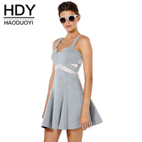 HDY Women's Dress Spaghetti Strap Summer Dress A line Women Dress Elegant 2018 Ladies Summer Dresses Casual Patchwork