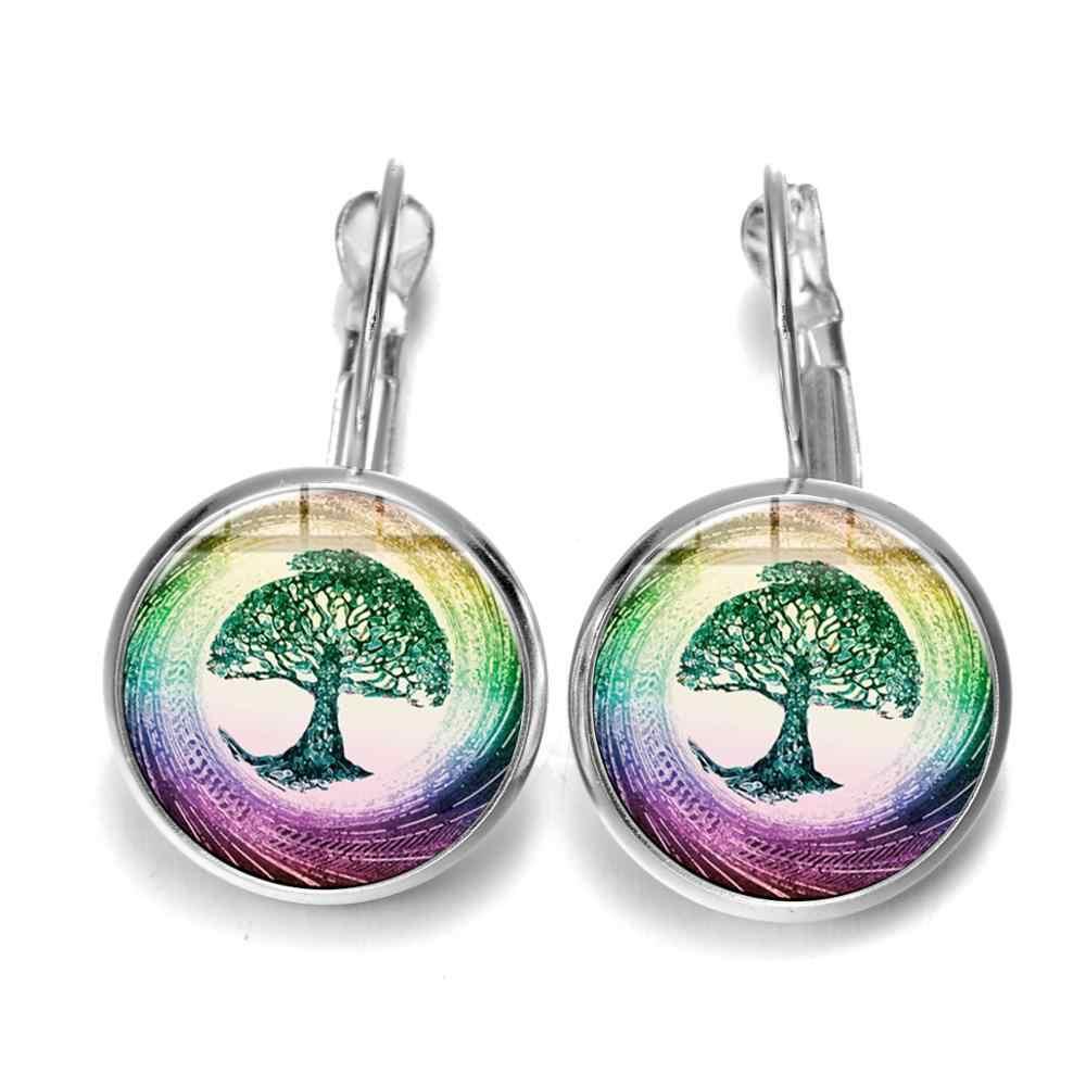SONGDA arbre sacré de la vie mauvais œil français crochet boucles d'oreilles argent cristal verre goutte boucles d'oreilles pour femmes vie arbre bijoux Talisman