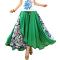 Long Skirts Womens 2017 Summer Vintage Elastic High Waist Print Floral Patchwork Asymmetric Big Bottom Ladies Casual Maxi Skirt