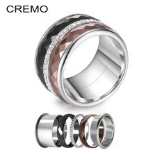 Cremo Full Zircon Titanium Rings Women Stackable Interchangeable Femme Youth Multi 316L Stainless Steel Wedding Band Layers Ring