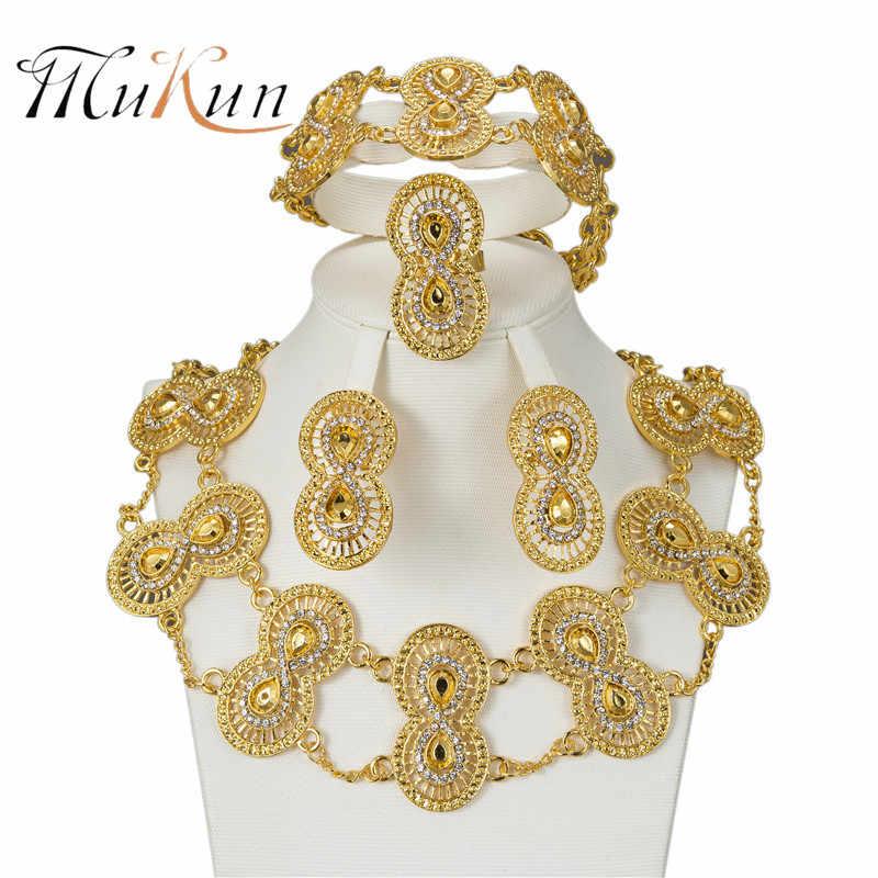MUKUN großhandel Glamour mode frauen Dubai gold schmuck Nigeria hochzeit Afrikanische perle kristall Schmuck anzug Party zubehör